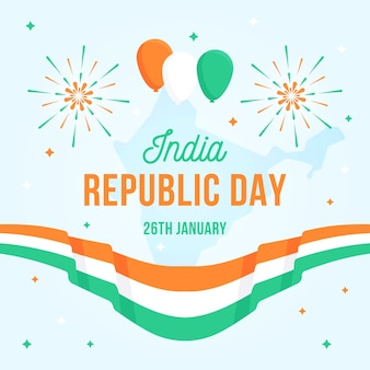 Flat republic day with flag and balloons Free Vector
