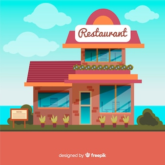 Flat restaurant background