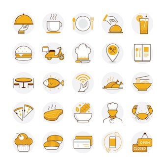 Flat restaurant and food icons