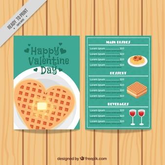 Плоский меню ресторана на день святого валентина
