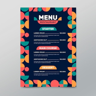 Flat restaurant menu template