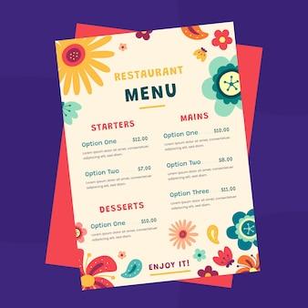 Modello di menu ristorante piatto