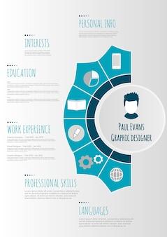 フラット履歴書のインフォグラフィックデザイン。インフォグラフィックとタイムラインで設定された履歴書を再開します。きれいなベクトル