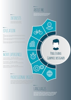 Flat resume infographic design. resume cv set with infographics and timeline. clean vector