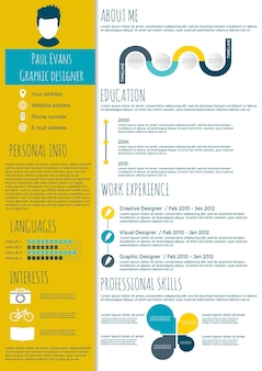 Flat resume infographic design. resume, cv set with infographics and timeline. clean vector