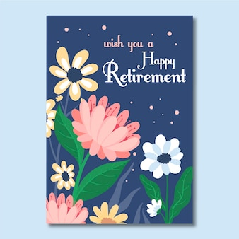 Flat retirement greeting card template illustrated