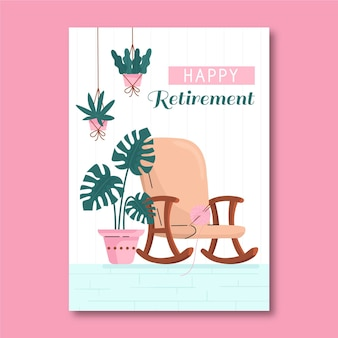 Плоский шаблон поздравительной открытки на пенсию