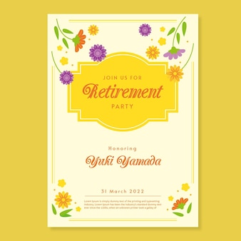 Flat retirement greeting card template