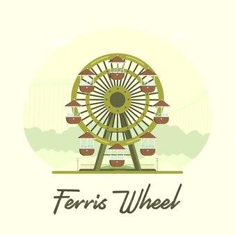 Flat retro ferris wheel for explainer videos