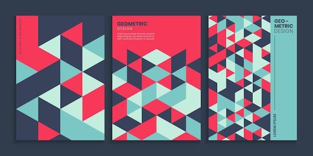 Flat retro geometric cover design set