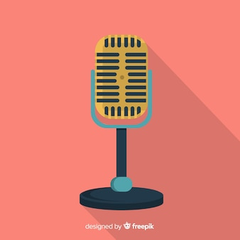 Flat retro microphone background