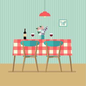 레드 와인과 두 잔이 있는 평평한 복고풍 테이블. 벡터 일러스트 레이 션