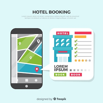 Flat review hotel booking background