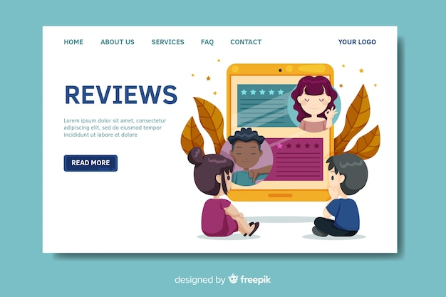Flat reviews landing page template