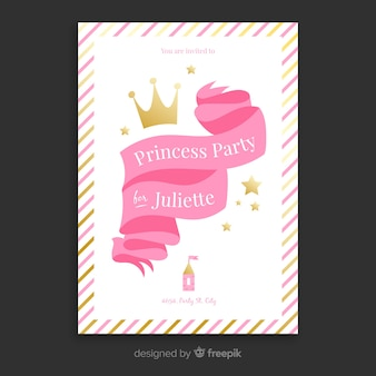 Flat ribbon princess party invitation template