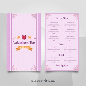 Flat ribbon valentine menu template