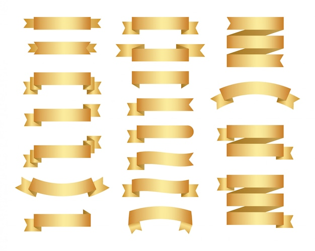 Flat ribbons banners flat isolated on white background  illustration set of gold tape
