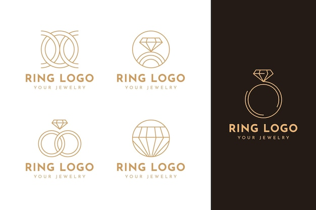 Flat ring logo template collection