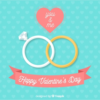 Flat rings valentine background