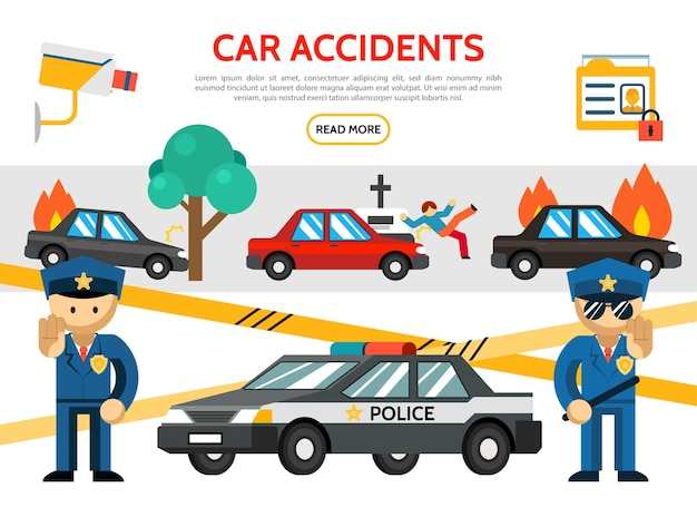 Flat road accident icons set with car crash burning automobile pedestrian hit surveillance camera