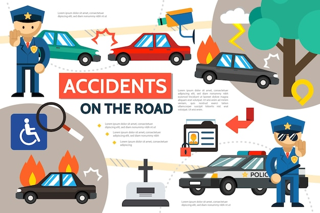 Flat road accident infographic template with car crash burning automobile pedestrian hit police officers