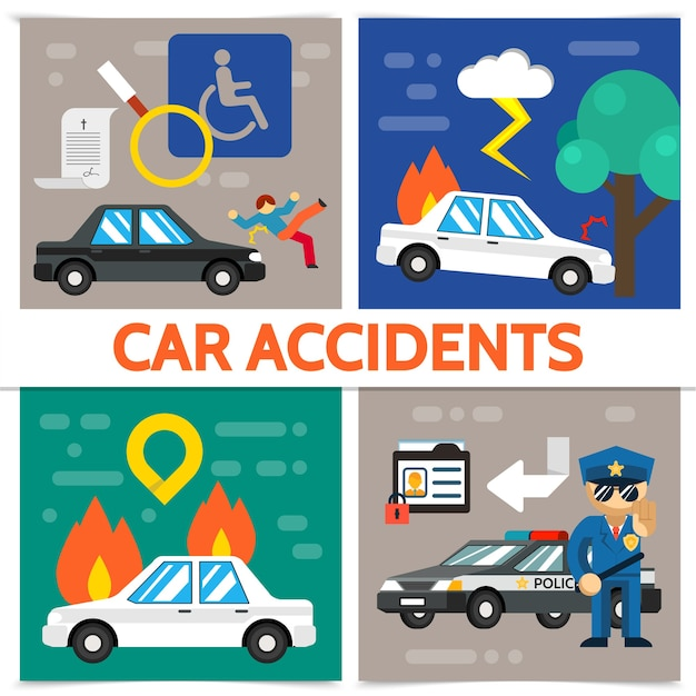 Flat road accident square composition with pedestrian hit burning automobile car crash police officer