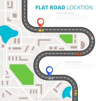 Flat road location Premium Vector