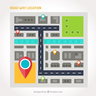 Плоский дорожная карта с несколькими достопримечательностями