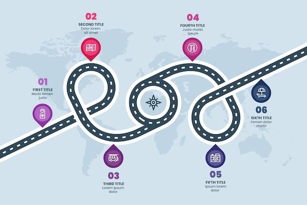 Плоский инфографический шаблон дорожной карты