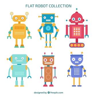 Коллекция персонажей с плоскими роботами