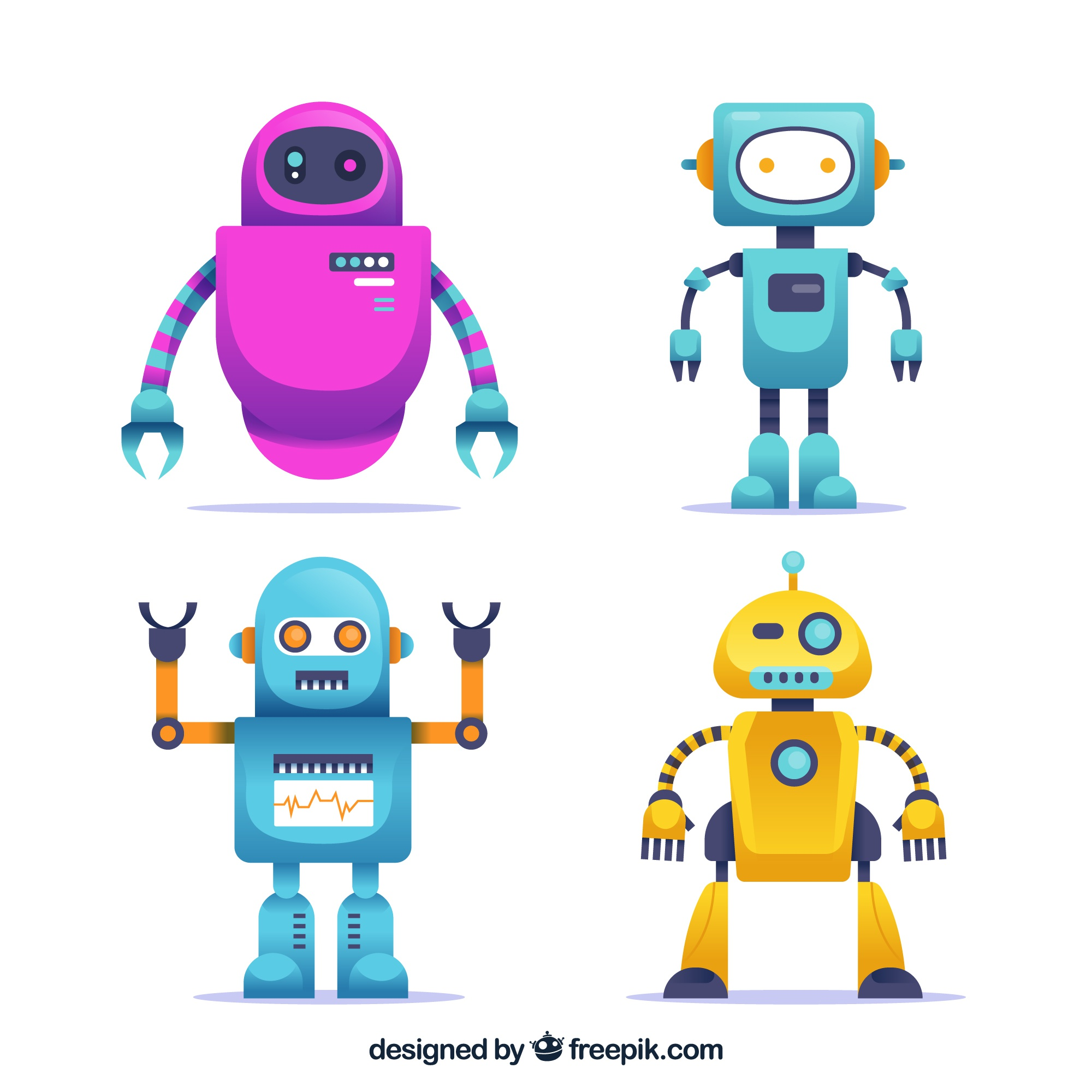 Flat robot character collection
