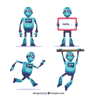 Flat robot character with different poses collection Premium Vector