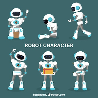 Flat robot character with different poses collection