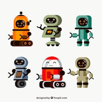 Коллекция плоских роботов с разными позами