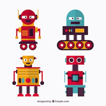 Flat robot collection with different poses