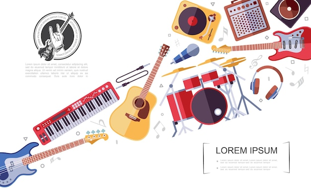 Flat rock musical instruments colorful concep