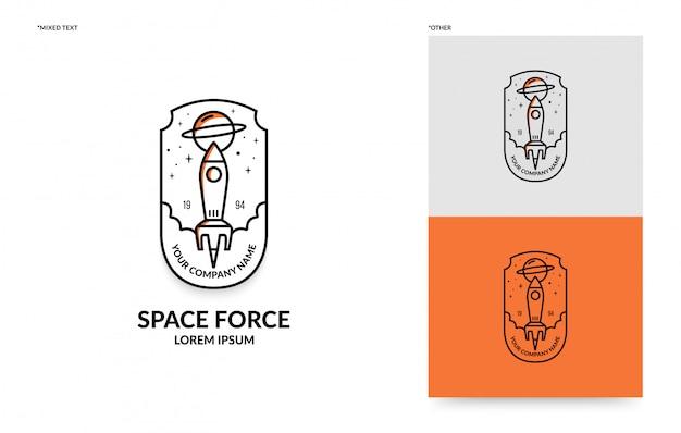 Flat rocket badge template,