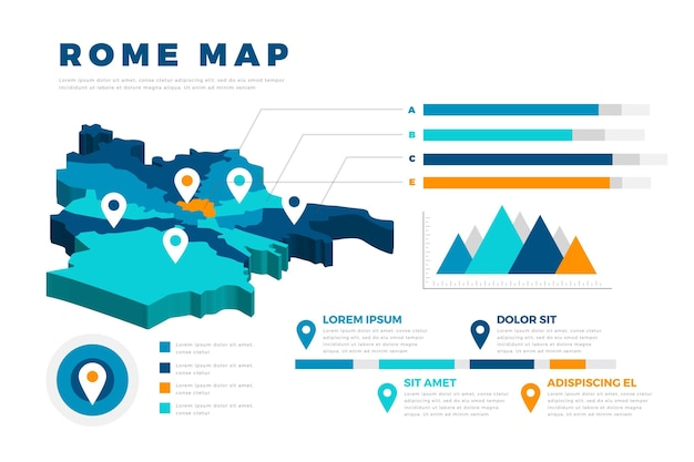 フラットローマ地図のインフォグラフィック