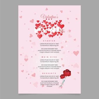 Шаблон меню на день святого валентина с плоскими розами