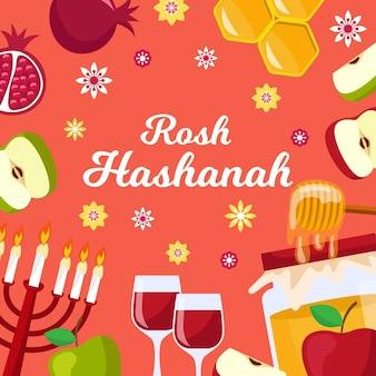 Flat rosh hashanah concept