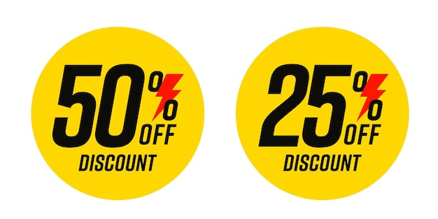 Flat round 50 and 25 percent price off discount flash sale.