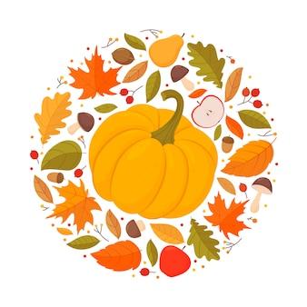 秋の紅葉、果物、カボチャ、キノコの平らな丸い組成。ラウンド秋をテーマにしたデザイン要素や背景