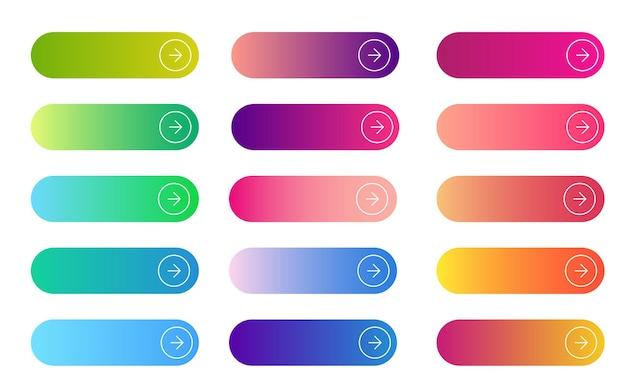 Коллекция плоских округлых градиентных кнопок для интернет-навигации.