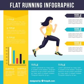 Flat running infographic template