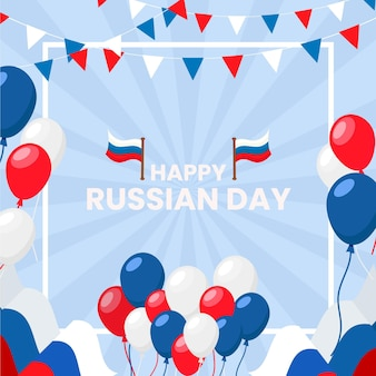 Flat russia day background with balloons