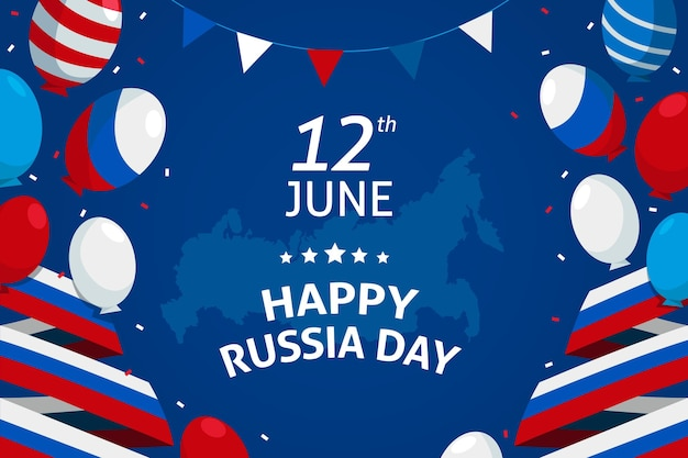 風船とフラットロシアの日の背景