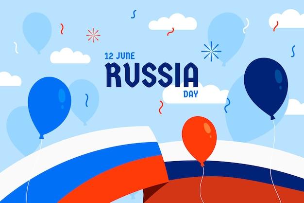 Плоский день россии фон с воздушными шарами