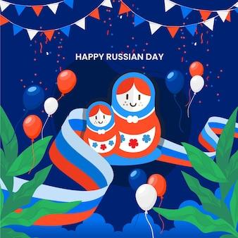 평면 러시아 날 그림