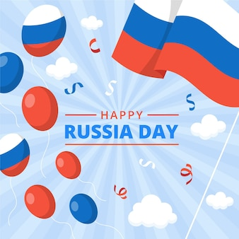 Flat russia day illustration