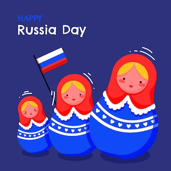 Flat russia day illustration